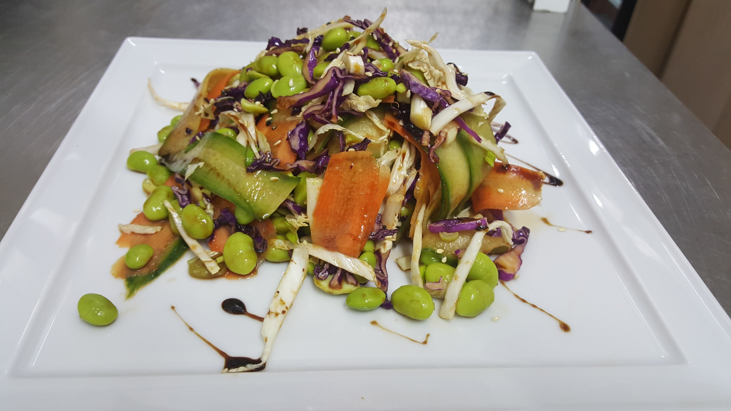 EDAMAME SALAD - green edamame beans, two kind of colorful cabbage, carrots, cucumbers and green onion, seasoned with fresh dressing with ginger, sesame and sweet chilli