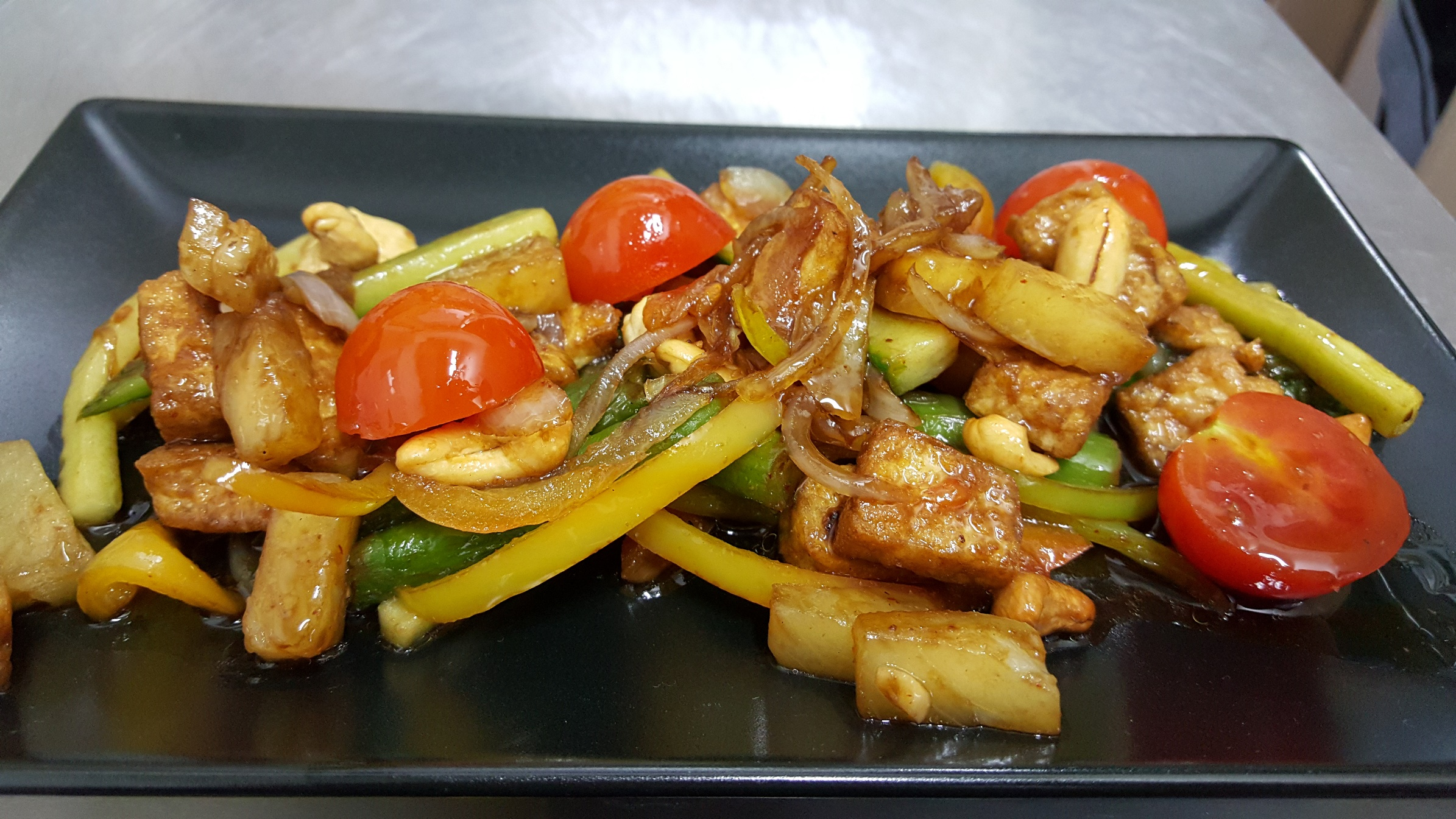 GOLDEN SWEET-SOUR TOFU CUBES - with multicolored vegetables and cashew